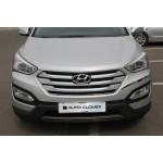 Hyundai Santa Fe 2013- Комплект накладка на решетку радиатора, окантовка капота 5шт - CLOVER