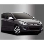 Hyundai Accent 2010- Накладки на зеркала без повторителей 2шт - Clover