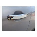 Ford Transit 2014- Накладки на ручки с белой полосой (пластик) 8шт - Carmos