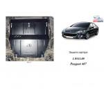 Защита Peugeot 407 2004-2010 V- все двигатель, КПП, радиатор - Kolchuga