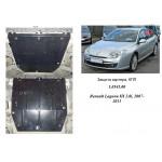Защита Renault Laguna III 2007-2011 V-2,0i; 1,5DCI; двигатель, КПП, радиатор - Kolchuga