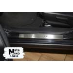 Накладки на пороги Subaru XV II 2017- 4 шт на метал Premium NataNiko