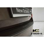 Накладки на бампер с загибом Skoda OCTAVIA III A7 2013- нержавейка+пленка Карбон NataNiko