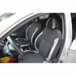 Авточехлы для HYUNDAI ACCENT SOLARIS седан С (цельная спинка) с 2011 - кожзам - Premium Style MW Brothers