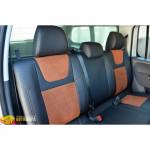 Авточехлы для Volkswagen AMAROK с 2009 - кожзам + алькантара - Leather Style MW Brothers