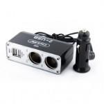 CARLIFE Разветвитель прикуривателя 2в1 + USB, 12В, 5A