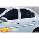 Hyundai Accent седан (2005-2011) Окантовка на молдинги стекол (нерж.) 12 шт. - Omsa Line