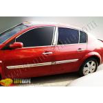 Renault Megane 5D/седан (2004-2006) Молдинг дверной (нерж.) 4 шт. - Широкий - Omsa Line