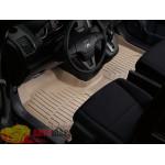 Коврики салона WeatherTech Honda CR-V 2007-2012, Бежевые 1+2 ряд. Передний ряд цельный - резиновые
