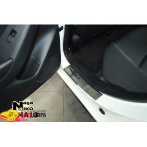 Накладки на пороги MAZDA 3 III 2013- Premium - 4шт, наружные - на метал NataNiko
