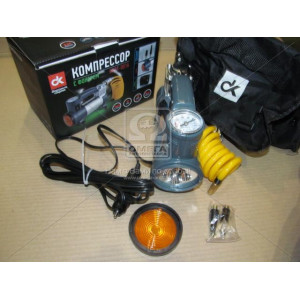 Компрессор, 12V, 7Атм, 30л/мин, фонарь, прикуриватель, кабель 3м, шланг 1м,- Дорожная Карта