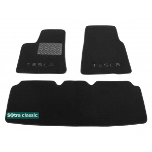 Двухслойные коврики Tesla Model S 2014→ - Classic 7mm Black Sotra
