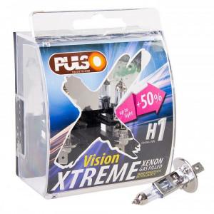 Лампы PULSO/галогенные H1/P14.5S 12v55w+50% X-treme Vision/plastic box